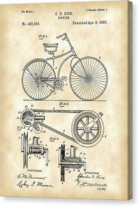 Bicycle Patent 1890 - Vintage Canvas Print by Stephen Younts