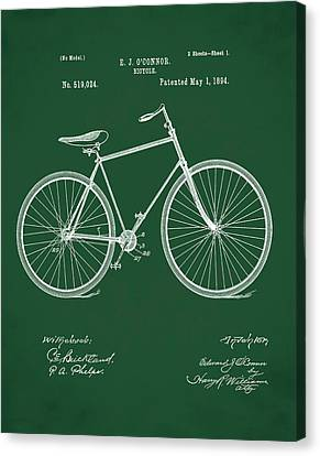 Bicycle Patent 1894 Green Canvas Print by Bill Cannon