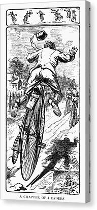 Bicycle Race Accident, 1880 Canvas Print