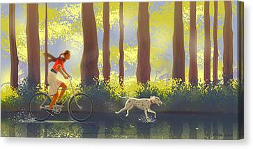 Bicycle Ride Canvas Print by Adam Gaba