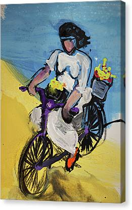 Bicycle Riding With Baskets Of Flowers Canvas Print