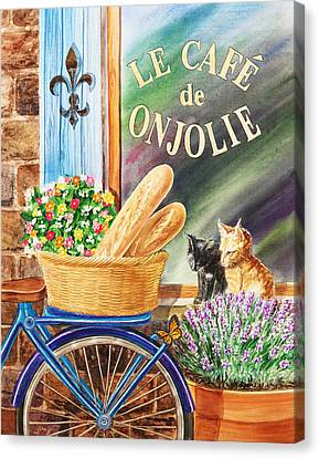 Bicycle With Flowers Canvas Print - Bicycle With Basket At The Cafe Window by Irina Sztukowski