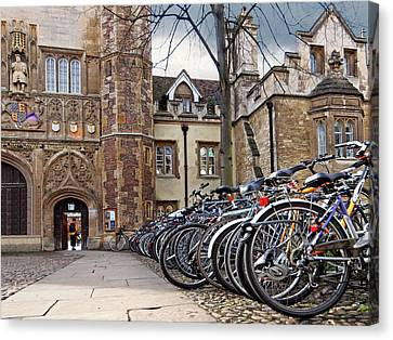Bicycles At Trinity College Cambridge Canvas Print by Gill Billington