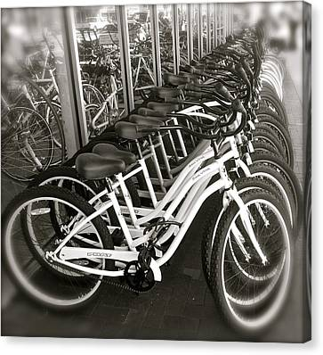 Bicycles In Belmont Shore Canvas Print by Gwyn Newcombe