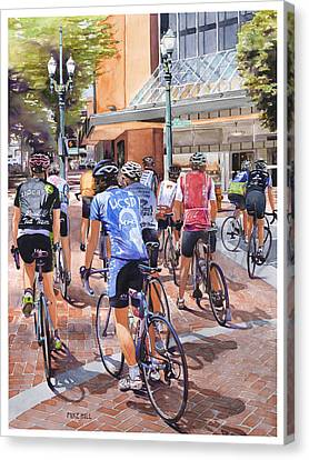 Bicycles On Broadway Canvas Print by Mike Hill