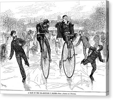 Bicycles On Ice, 1881 Canvas Print by Granger
