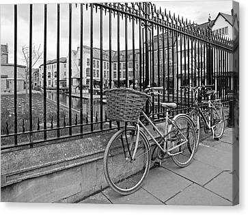 Canvas Print featuring the photograph Bicycles On Magdalene Bridge Cambridge In Black And White by Gill Billington