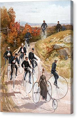 Bicycling, 1887 Canvas Print
