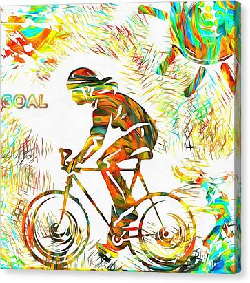 Bicyclist Goal Painting Canvas Print by Dan Sproul