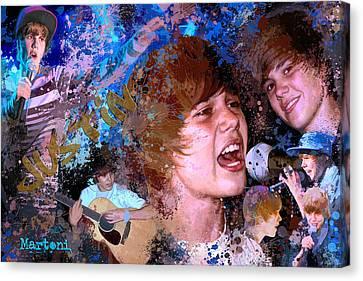 Bieber Fever Tribute To Justin Bieber Canvas Print by Alex Martoni