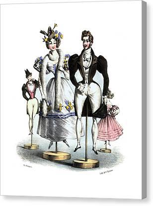Dressing Room Canvas Print - Biedermeier French Fashion -les Fashionables by Village Antiques