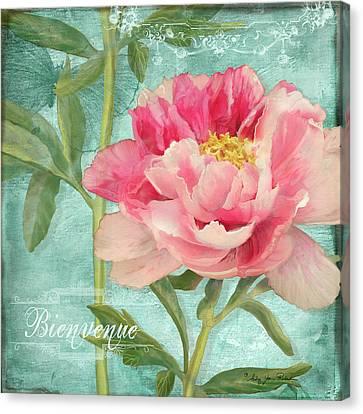 Bienvenue - Peony Garden Canvas Print by Audrey Jeanne Roberts
