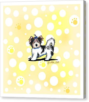 Biewer Terrier Banana Cream Canvas Print by Kim Niles