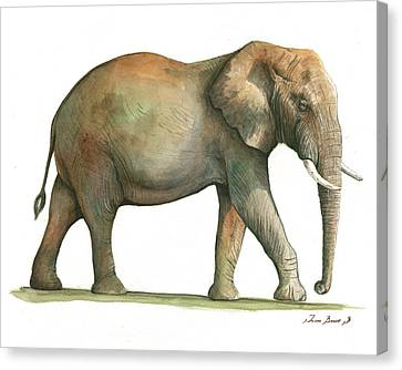 Big African Male Elephant Canvas Print by Juan Bosco