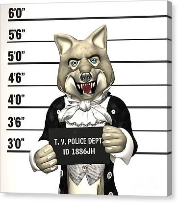 Canvas Print featuring the digital art Big Bad Wolf Mugshot by Methune Hively