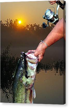 Big Bass At Sunrise Canvas Print by Ron Kruger