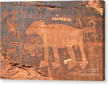 Big Bear Petroglyph Canvas Print by David Lee Thompson