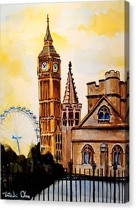 Big Ben And London Eye - Art By Dora Hathazi Mendes Canvas Print by Dora Hathazi Mendes