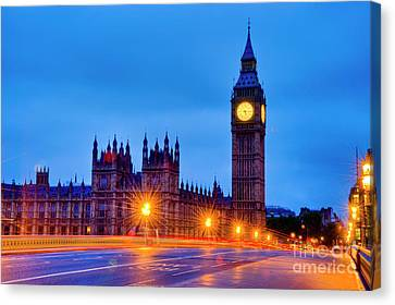 Big Ben At Night Canvas Print by Donald Davis