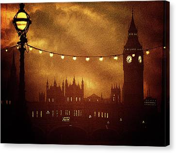 Canvas Print featuring the digital art Big Ben At Night by Fine Art By Andrew David