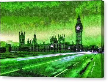 River Canvas Print - Big Ben London - Da by Leonardo Digenio