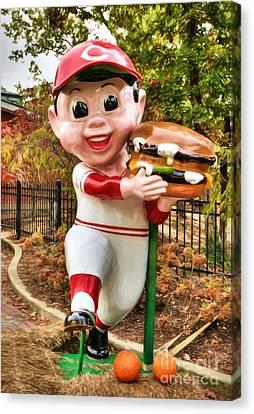 Big Boy Is A Cincinnati Reds Fan Canvas Print by Mel Steinhauer