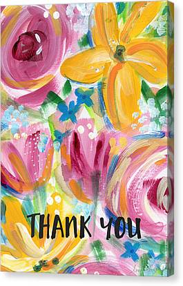 Thank Canvas Print - Big Colorful Flowers Thank You Card- Art By Linda Woods by Linda Woods