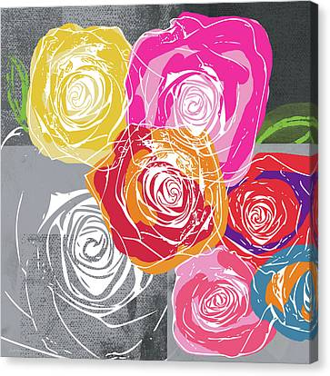 Big Colorful Roses 1- Art By Linda Woods Canvas Print by Linda Woods