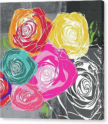 Big Colorful Roses 2- Art By Linda Woods Canvas Print by Linda Woods
