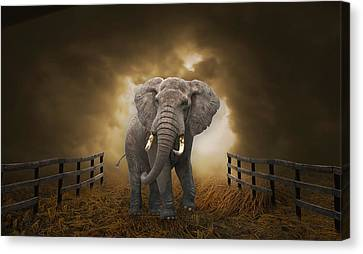 Canvas Print featuring the mixed media Big Entrance Elephant Art by Marvin Blaine