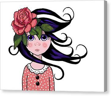 Big Eyed Girl With Rose, Pop Art Canvas Print by Joyce Geleynse