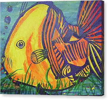 Canvas Print featuring the painting Big Fish In A Small Pond by Lee Nixon