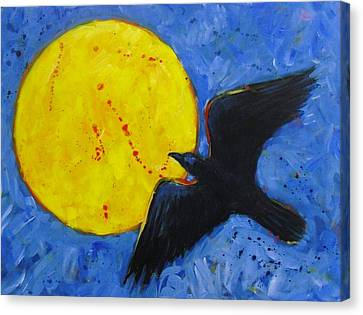 Big Full Moon And Raven Canvas Print