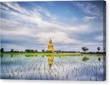 Angthong Canvas Print - Big Gold Buddha Statue Wat Muang by Anek Suwannaphoom