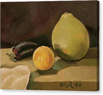Big Grapefruit Canvas Print by Raimonda Jatkeviciute-Kasparaviciene