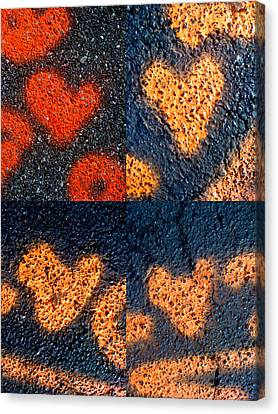 Big Hearts Spray Paint Canvas Print by Boy Sees Hearts