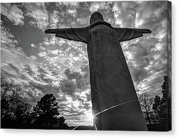 Big Jesus - Christ Of The Ozarks In Black And White Canvas Print by Gregory Ballos