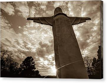 Big Jesus - Christ Of The Ozarks In Sepia Canvas Print by Gregory Ballos