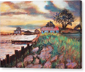 Canvas Print featuring the painting Big Lake Bulkhead by AnnE Dentler