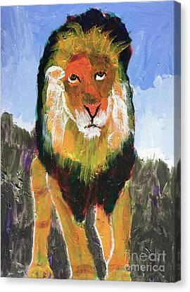 Canvas Print featuring the painting Big Lion King by Donald J Ryker III