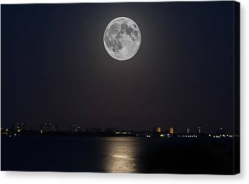 Big Moon Over The Bay Canvas Print