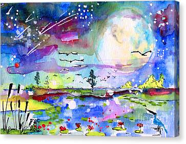 Canvas Print featuring the painting Big Moon Wetland Magic by Ginette Callaway