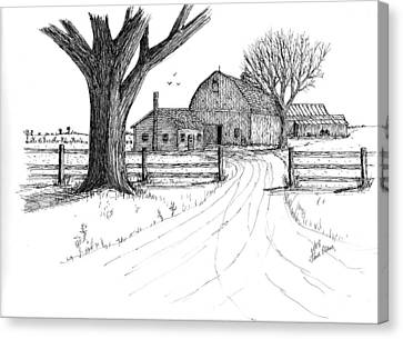 Canvas Print featuring the drawing Big Oak Dairy Farm by Jack G  Brauer