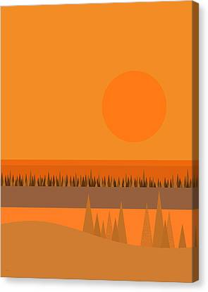 Canvas Print featuring the digital art Big Orange Sun by Val Arie