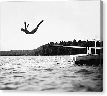 Diving Board Canvas Print - Big Pond Swan Dive by Underwood Archives