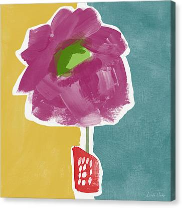 Big Purple Flower In A Small Vase- Art By Linda Woods Canvas Print by Linda Woods