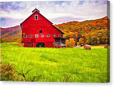 Big Red Barn - Paint Canvas Print by Steve Harrington