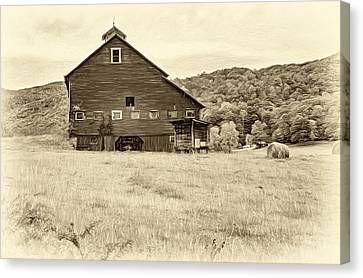 Big Red Barn - Sepia Canvas Print by Steve Harrington