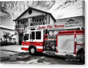 Canvas Print featuring the photograph Big Red Fire Truck by Mel Steinhauer