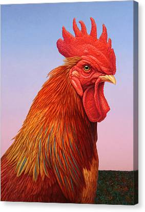 Rooster Canvas Print - Big Red Rooster by James W Johnson